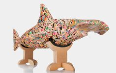 Japanese artist Haroshi creates unique three-dimensional sculptures out of recycled skateboard decks.