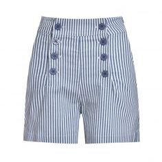 Coco - shorts that are great for summer! With nautical style button front and a high waist. Available in a range of colours from Lindy Bop. Blue And White Shorts, Striped Shorts, Blue Shorts, Cotton Shorts, Patterned Shorts, High Rise Shorts, High Waisted Shorts, Rockabilly Fashion, Rockabilly Style