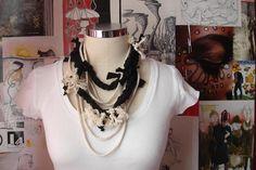 Unique Cotton Collection black cotton rope necktie by giZZdesigns, $15.00