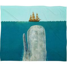 Terry Fan The Whale Fleece Throw Blanket | DENY Designs Home Accessories