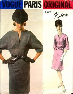 How Much Did That Sell For?!?: Vogue Paris Original 1377 Sewing Pattern Designer Jean Patou One Piece Dress