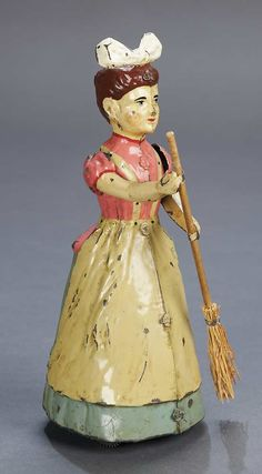 German painted tin mechanical toy by Siegfried Gunthermann, late century. When wound, the lady moves around in circles and semi-circles, her arms moving up and down as though sweeping. Metal Toys, Tin Toys, Doll Toys, Children's Toys, Look Vintage, Old Dolls, Classic Toys, Antique Toys, Toys For Girls