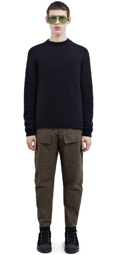 Acne Studios AW 16/17 Olive Green Trousers in Twill with oversize frontal pockets.