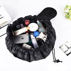 Buy Women Drawstring Cosmetic Bag Fashion Travel Makeup Bag Organizer Make Up Case Storage Pouch Toiletry Beauty Kit Box Wash Bags Makeup Pouch, Makeup Bags, Face Makeup, Thing 1, Makeup Items, Makeup Tools, Travel Cosmetic Bags, Travel Bags, Travel Makeup