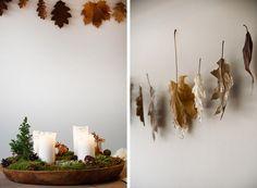 Guirlande med efterårsblade og et strejf af guld