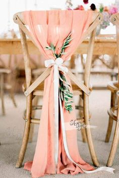 Wedding Chair Sashes, Wedding Chair Decorations, Wedding Chairs, Bridal Shower Decorations, Peach Bridal Showers, Bridal Shower Chair, Glow Stick Wedding, Decoration Evenementielle, Deco Table