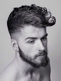 Mens Curly Hair, Shaped into a Modern Pompadour.