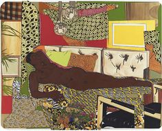 "MICKALENE THOMAS, ""Marie: Femme noire nue couchée,"" 2012 (rhinestones, acrylic, oil and enamel on wood panel). 