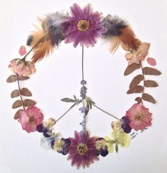 pressed flowers peace sign