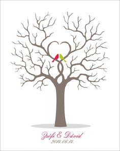 ujjlenyomatfa, vendegkönyv - Köszönetajándék doboz, cukrozott mandula, virágzó tea, ültetőkártya, köszönetajándék.