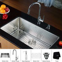 "View the Kraus KHU100-32-KPF1622-KSD30 32"" Undermount Single Bowl 16 Gauge Stainless Steel Kitchen Sink with Pullout Spray Kitchen Faucet and Soap Dispenser at FaucetDirect.com."