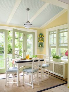 now, you can create the best concept with farmhouse sunroom design. It is not something hard to do to make sure that you can create a good concept with sunroom design ideas. Yellow Dining Room, Dining Rooms, Dining Area, Sunroom Decorating, Blue Ceilings, Farmhouse Design, Modern Farmhouse, Farmhouse Ideas, Kitchen Colors