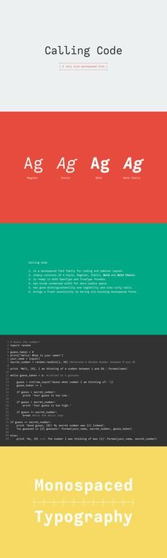 Calling Code - Calling Code is a smart and clean monospace design, published by Ryoichi Tsunekawa.