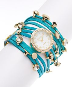 Look at this Turquoise String Leather Wrap Watch on #zulily today!