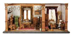 Furnished German Wooden Doll HouseRooms Including RareSewing Accessories c1890