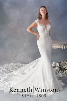 Kenneth Winston Style Mermaid wedding dress, available in Ivory/Silver (pictured) White/Silver. Made of Embroidered Cotton Lace/English Net/Crepe/Stretch Lining. Available in Size 2 to 28 or with your own custom measurements for a bespoke fit. Wedding Dress Styles, Dream Wedding Dresses, Designer Wedding Dresses, Bridal Dresses, Wedding Gowns, Wedding Ceremony, Dresses Elegant, Pretty Dresses, Formal Dresses