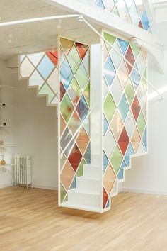 Stained glass dividers define London co-working space inside church Divider Design, Wall Design, House Design, Glass Stairs, Glass Railing, Coworking Space, Interior Stairs, Interior Architecture, Staircase Railings