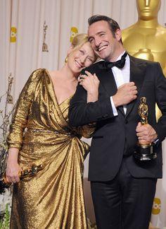 """2011 Academy Award Winners - Meryl Streep - Best Actress Oscar for """"The Iron Lady"""" and Jean Dujardin - Best Actor Oscar for """"The Artist"""""""