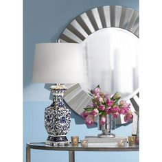 "Iris Blue And White Porcelain With Crystal Table Lamp28"" high. Shade is 12"" across the top, 14"" across the bottom, 10 1/4"" on the slant.lp129"