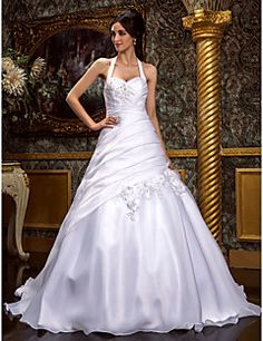 Lanting+Bride®+A-line+/+Princess+Plus+Sizes+/+Petite+Wedding+Dress+-+Classic+&+Timeless+/+Elegant+&+Luxurious+Sweep+/+Brush+Train+Halter+–+USD+$+400.00
