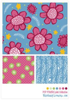 Pop Flowers pink Collection by Mariana :: Floating Lemons