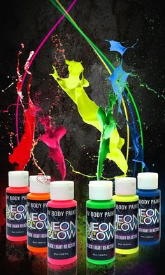 Neon Glow In The Dark Body Paint #1 Premium Set (6 Pack Of 2 Oz. Bottles) Glo..