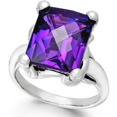 Amethyst Quartz Ring (7 ct. t.w.) in Sterling Silver (£92) ❤ liked on Polyvore featuring jewelry, rings, silver, sparkle jewelry, amethyst jewellery, sterling silver jewellery, sterling silver amethyst ring and amethyst ring