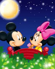 Mickey & Minnie enjoy a beautiful moonlit starry night together