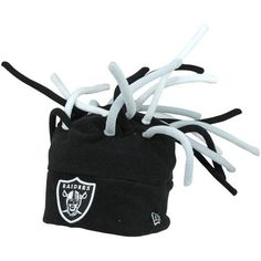 """Men's New Era Oakland Raiders Crazy Dreadz Hat One Size Fits All by New Era. $24.95. Fleece hat. NFL® team name embroidered on cuff's front. Officially licensed Made in China. Team-colored """"dreadlocks"""" sticking out of crownContrast-colored interior. If any ordinary hat just won't do for game day, then the wild and wacky men's New Era® Crazy Dreadz hat is for you! Your NFL® team's name is embroidered on the cuff's front, while team-colored """"dreadlocks"""" ensure you'..."""