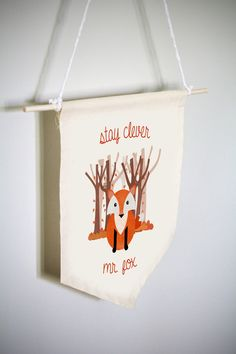 Woodland Nursery, Woodland Baby Shower, Woodland Nursery Decor, Woodland Animal, Woodland Fox, Animal Nursery Art, Baby Room Decor, Rustic::: This adorable woodland animal nursery decor item is the perfect addition to your rustic boy or girls nursery. The charming watercolor fox with the saying stay clever mr. fox is a darling wall hanging to display in your perfect rustic woodland nursery.