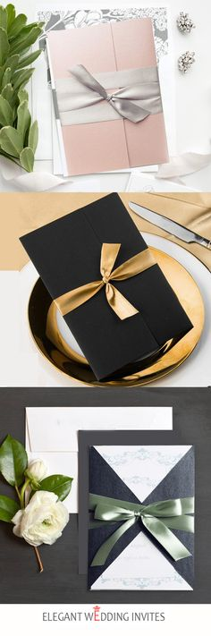 elegant pocket wedding invitations with ribbon