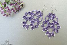 Tatted earrings  Tatted jewelry  Long lace by LacyLoveJewelry