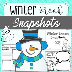 *** This product will be FREE for a limited time - Enjoy! *** Winter Break Snapshots Writing Activities You might also like: Addition and Subtraction - Practice Sheets Numbers 1 to 1, - Recognition Numbers 1 to 2, - Recognition ...