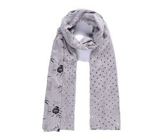 SALE     Share  Stylish Grey Double Sided Floral and Heart Metallic Foil Print Long Scarf