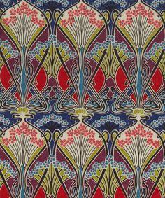 Created by French Art Nouveau designer, R… Motif Art Deco, Art Nouveau Design, Design Art, Art Deco Fabric, Liberty Art Fabrics, Liberty Print, Textile Prints, Textile Patterns, Fabric Design