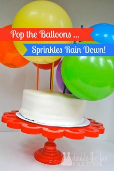 DIY Birthday Balloon Sprinkle Cake ! Super Fun !! Cake Sprinkles are in the balloons ! So pop the balloons = Sprinkles on the cake!