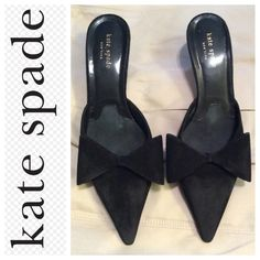 HP Kate Spade suede shoes I love these shoes so so much - I'm selling for a friend and wish they were my size because I'd never sell these beauties. 100% black suede mule style shoe with pointed toe and cute bow. Kitten style heel. Note: these shoes have been worn - wear on sole and heel but still fabulous and fun. kate spade Shoes