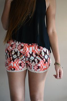 Red Tribal Print Lounge Shorts w/ Dot Trimming by sereiclothing