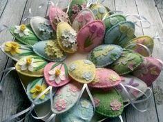 Pastel Felt Easter decoration Felt Easter ornaments by DusiCrafts