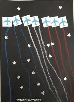 défilé avions 14 juillet, feux d'artifice, bricolage enfant 14 juillet