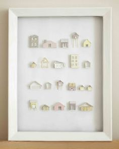 Little Projectiles: Series of Houses - Hmmmm.think I have a double sided shadow box frame. Wonder how I could mount some of my little houses. Clay Houses, Ceramic Houses, Putz Houses, Paper Houses, Miniature Houses, Wooden Houses, Cardboard Houses, Mini Houses, Miniature Dolls