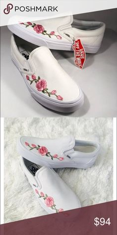 c53273965a03 Shop Women s Vans Pink Red size Various Shoes at a discounted price at  Poshmark. Description  White vans slip ons with custom rose embroidery.