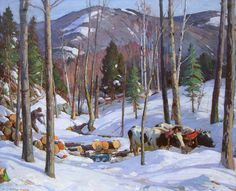 """Log Team, Vermont,"" Aldro T. Hibbard, oil on canvas, 40 x Pierce Galleries. Winter Landscape, Landscape Art, Landscape Paintings, Painting Snow, Winter Painting, Classical Realism, Impressionist Landscape, Country Art, Winter Trees"