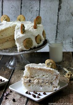 Chocolate Chip Cookie Dough Stuffed Cake By @Kathy Andreoli With The Crust Cut Off #dessert