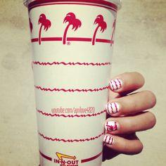 In-n-out burgers -nail art #nails #nail art #nail polish addict #opi #nail polish #unhas pintadas #easy nails #nail art ideas #nail art designs #unhas decoradas #diy #summer 2014