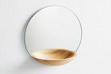 Pocket mirror, large oak