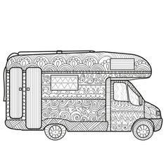 Camper Van Coloring Page Zentangle Camping Book
