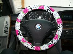 Leopard Print with Roses Steering Wheel Cover by mammajane on Etsy