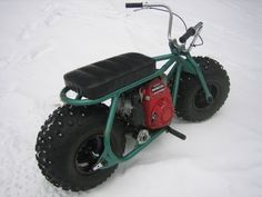 Fat Tire Homemade Custom minibike in the snow with gc160 honda - YouTube