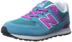 New Balance KL574 Lifestyle Pre Running Shoe (Little Kid), Blue/Pink, 2 M US Little Kid